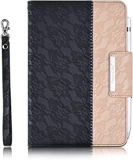 Thankscase Case for iPad Mini 5 2019 / iPad Mini 4 2015, Rotating Case Leather Cover with Apple Pencil Holder, Swivel Case Build-in Hand Strap, Wallet Pocket for iPad Mini 5th Gen. (Lace Black Gold)