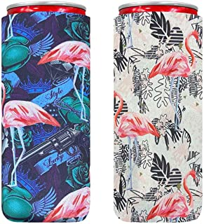 XccMe Neoprene Slim Can Sleeves,Foldable Tall Stubby Holder Can Cooler Insulators,Perfect for 12oz Slim cans Energy Drink & Beer RedBull,Michelob Ultra,White Claw. (Black&White Flamingo)