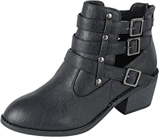 Forever Link Women's Ankle Strappy Buckle Cut Out Low Chunky Heel Ankle Bootie