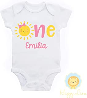 Happy Lion Clothing - Our Little Sunshine, You are my Sunshine first 1st Birthday outfit, personalized custom baby girls Sunshine Birthday shirt