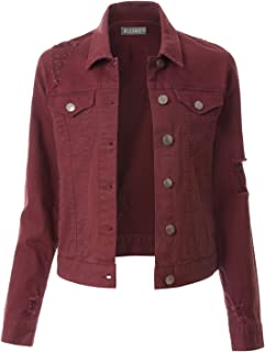 Womens Vintage Long Sleeve Denim Jacket with Pockets