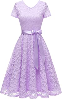 Bridesmay Women's V Neck Floral Lace Cocktail Party Bridesmaid Dress with Sleeves
