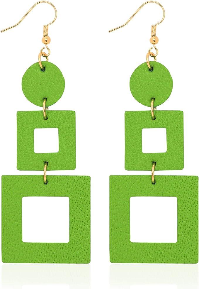 60s -70s Jewelry – Necklaces, Earrings, Rings, Bracelets KINIVA Leather Earrings Dangle for Women Lightweight Dangle Earrings Drop for Teen Girls Gifts for Women  AT vintagedancer.com