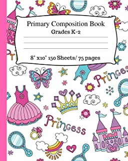 Primary Composition Book: Cute Princess Notebook, Story Paper With Dotted Mid Line for Grades K-2. 8x10, 150 pages/75 sheets. Writing Paper for Kids, ... Cute Composition Notebook , White Notebook