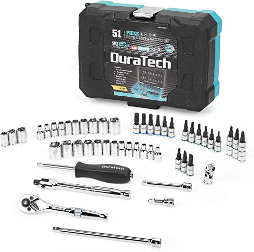"""2021 DURATECH 1/4"""" Socket Set, 51 Piece Tool Set Including Standard(SAE) popular and Metric Sockets,Bit 2021 Sockets,Ratchet and Universal Joint online sale"""