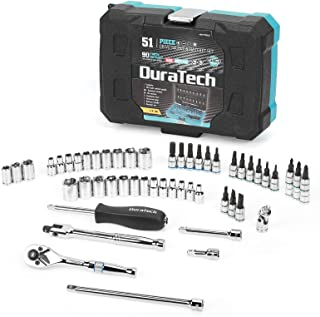 DURATECH 51 Piece Mechanic Tool Set and 1/4 Inch Socket Set,Standard (SAE) Hand Tool Set with...