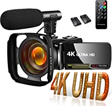 Video Camera Camcorder 4K 30MP Digital Camcorder Camera with Microphone Ultra HD Vlogging Camera with Remote Control,3 in ...