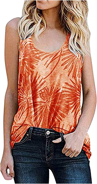 AODONG Womens Tank Tops Loose Fit,Floral Printed Sleeveless O-Neck Color Block Tank Tops Casual Loose Blouse Shirts