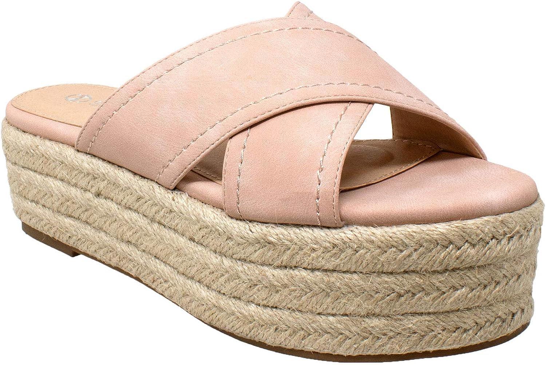 SOBEYO Womens Platform Sandals Wedge Flatform Slides Criss Cross Strap Espadrilles