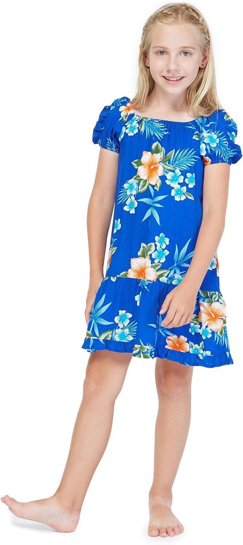 Girl Hawaiian Short Sleeve Simple Muumuu Ruffle Dress in Hibiscus Blue