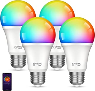 Smart Wifi Light Bulb Gosund LED WiFi RGB Color Changing Bulbs that Works with Alexa Google Home Assistant, E26 A19 8W Multicolor Lights Bulb, No Hub Required, 2.4GHz Only, 4 Pack