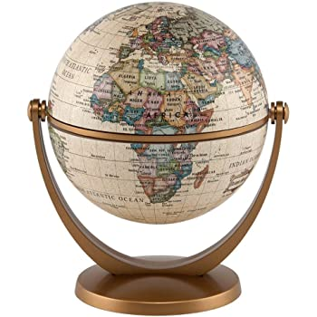 """Waypoint Geographic GyroGlobe 4"""" Classic Oceans - UP-TO-DATE Compact Mini Globe Swivels in All Directions - Perfect for Small Spaces at Home, Office & Classroom"""