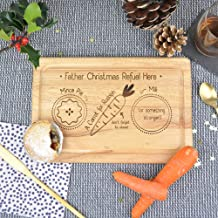 eBuyGB Wooden Snack Tray Father Christmas Refuel Here Xmas Eve Board, Santa Claus Rudolph Reindeer Treat Plate, Wood