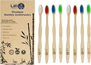Natural Bamboo Toothbrushes with Soft Nylon Bristles, Bamboo Toothbrush Pack of 8 by Lali Bambù