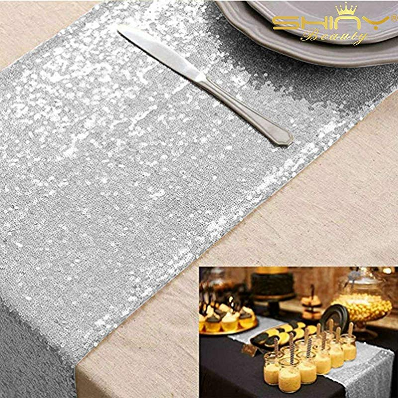 ShinyBeauty 12x108 Inch Sequin Table Runner Silver 20 Pieces