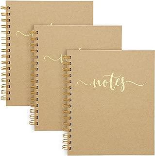 Paper Junkie Kraft Spiral Notebook Journal, Hardbound Cover, Lined (3 Pack) Gold Foil