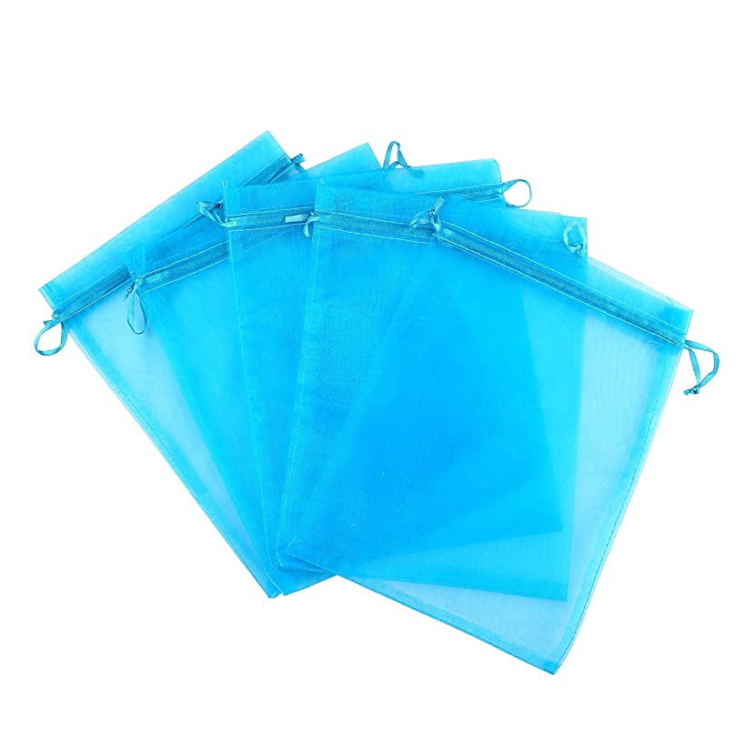Anleolife 100pcs Blue Sheer Organza Bags 3x4 inch Wedding Party Favor Bags Drawstring Gift Bag Jewelry Candy Sample Organizer Craft Show Business Shopping Bags(blue)