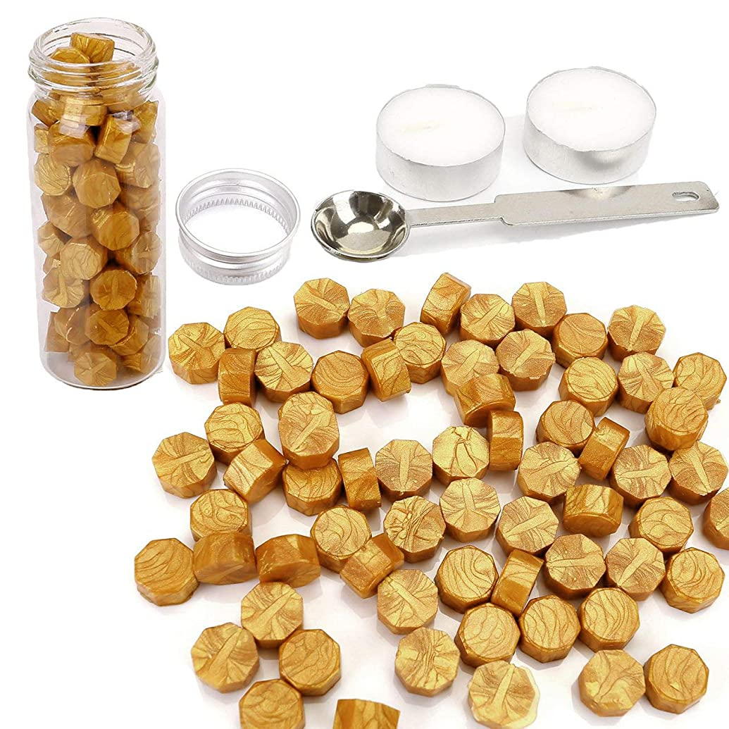 Gold Wax Seal Beads, Yoption 150 Pieces Octagon Sealing Wax Beads with Candle and Melting Spoon for Wax Seal Stamp (Gold)