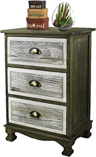 DL furniture - Fully Assembled 2 Tone Finish Night Stand End Table Storage Wood Cabinet | 3 Drawers