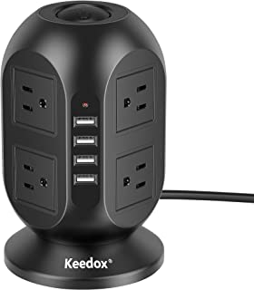 Sponsored Ad - Power Strip Tower Keedox Surge Protector 8 Outlet 4 USB Ports Electric Charging Station, Multi Plug Outlet ...