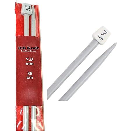 2longues aiguilles droites (35 cm) en plastique pour le tricot - Diamètre des aiguilles de 5mm, 5,5mm, 6mm, 6,5mm, 7mm, 7,5mm, 8mm, 9mm et 10mm 2 x 7mm