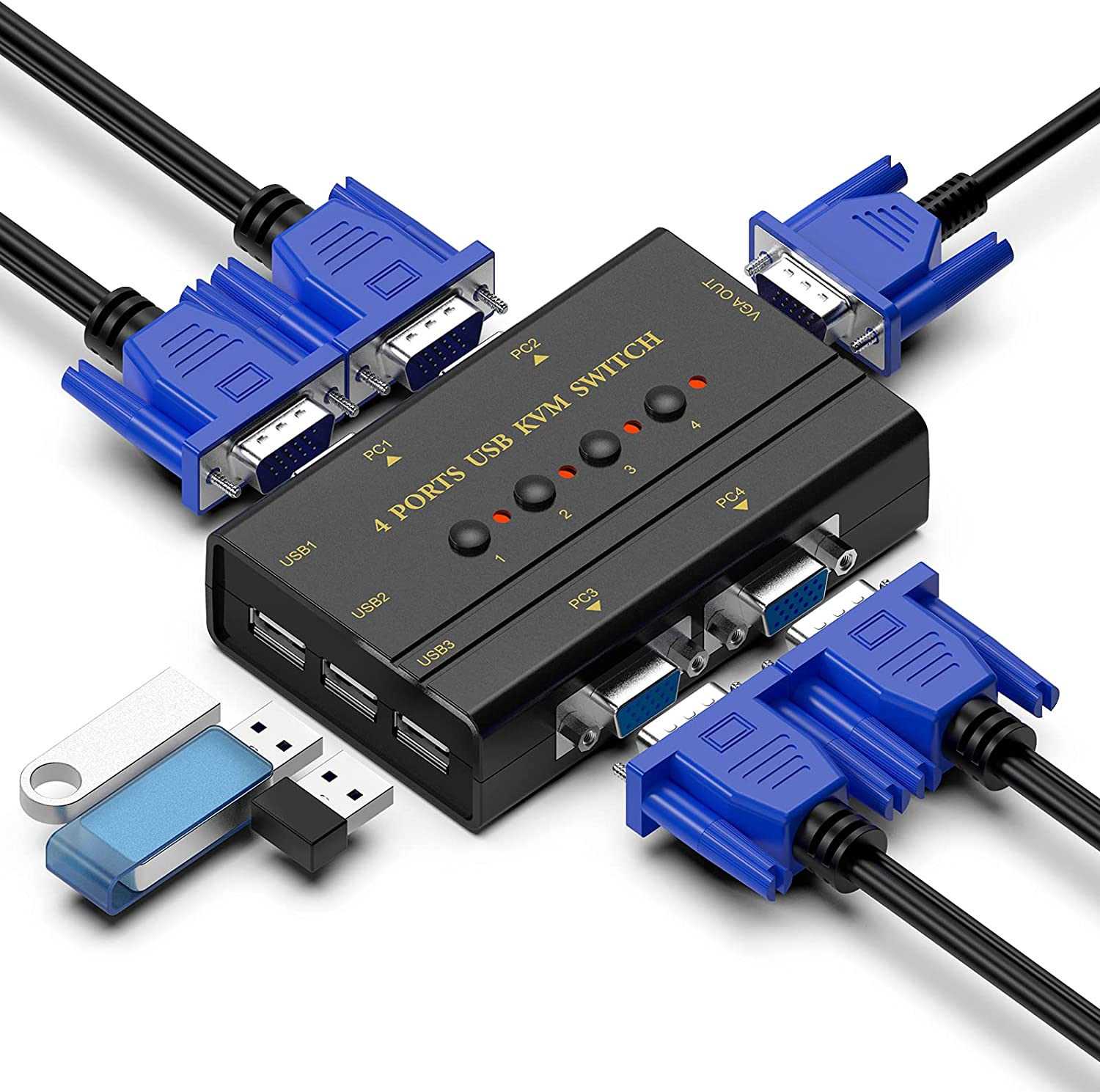 Max 60% OFF VGA KVM Switch 4 Port with Hub Selector USB Beauty products for 4PC