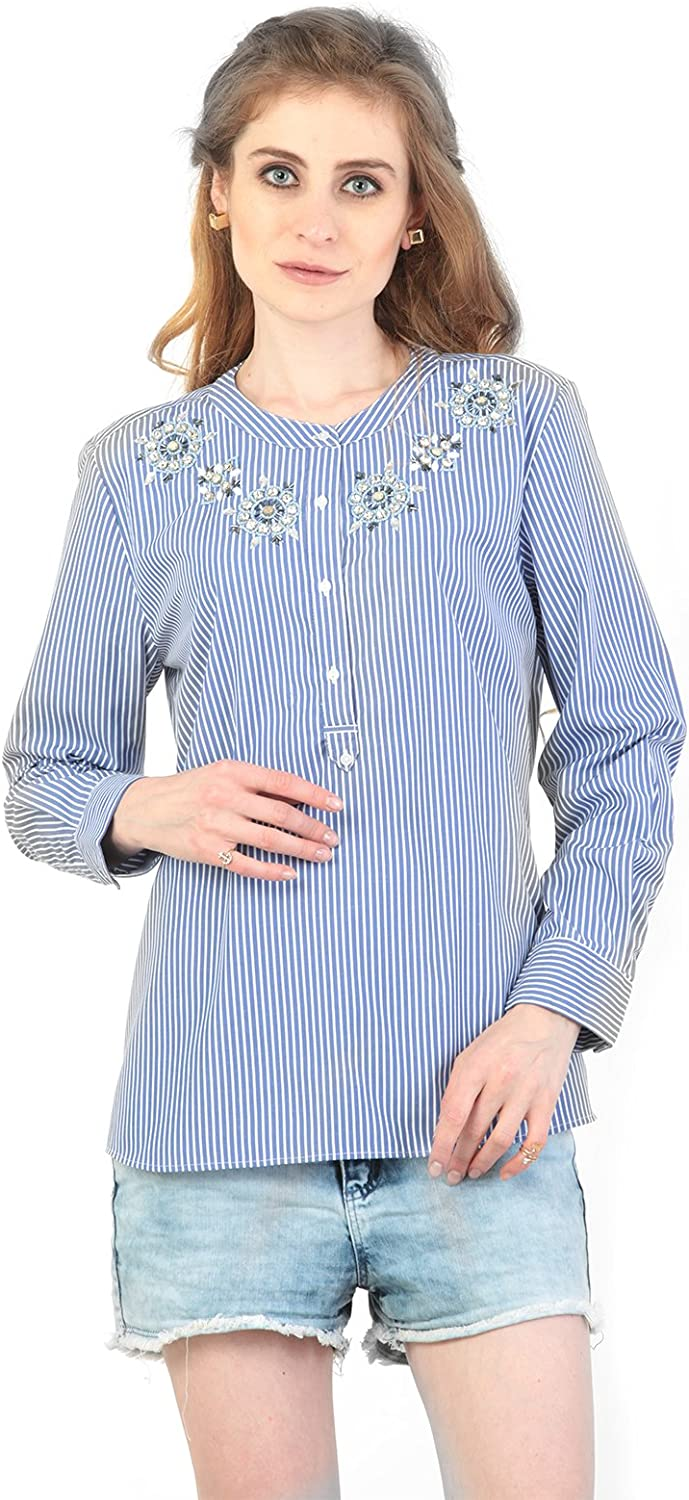 Embroidered Beads Full Sleeve Pin Stripes Business Casual Women's Shirt Top