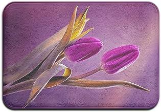 Purple Tulips Flowers Amazing Doormats Anti-slip House Garden Gate Carpet Door Mat Floor Pads