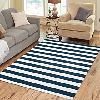 Semtomn Area Rug 5' X 7' Pinstripe Navy Blue and White Stripped Abstract Marine Pattern Home Decor Collection Floor Rugs Carpet for Living Room Bedroom Dining Room