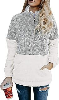 Women's Cozy Oversize Fluffy Fleece Sweatshirt Pullover...