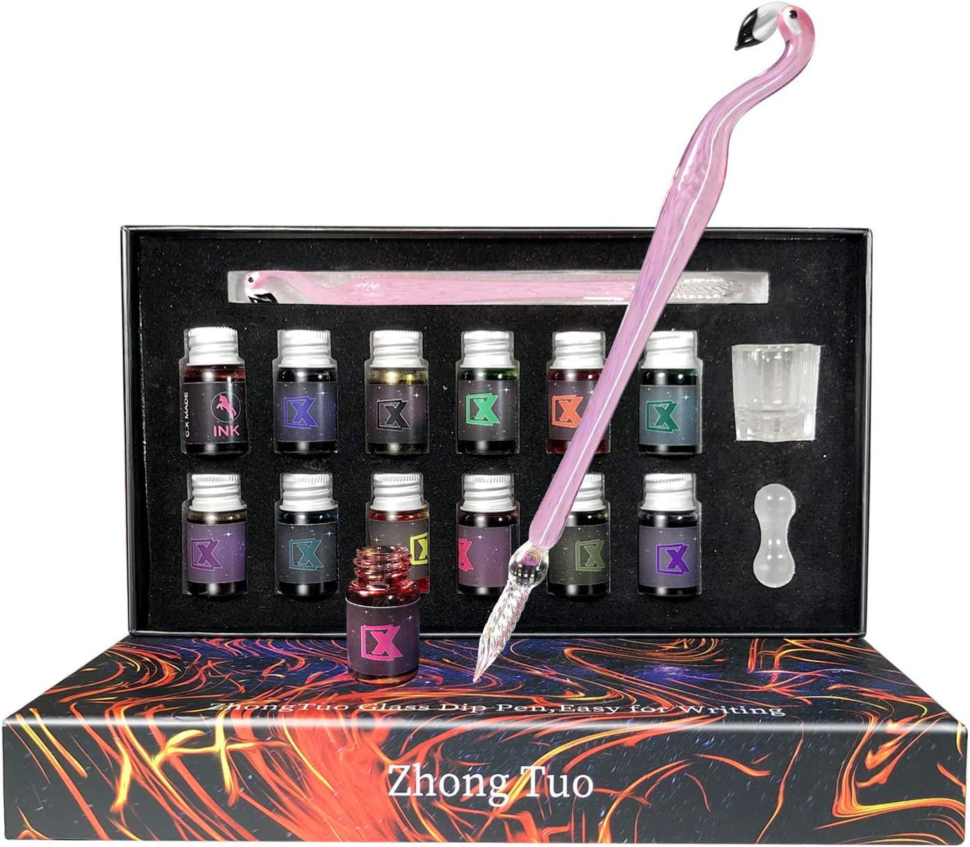 Glass Dip Pen 15Pcs Calligraphy Pens Set with12 Colors Inks Cute Glass Caligraphy kits for Beginners Art Pen Set for Writing Gift Drawing,Decoration