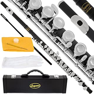 120-BK - BLACK/NICKEL Keys Closed C Flute Lazarro+Pro Case,Care Kit - 10 COLORS Available ! CLICK on LISTING to SEE All Colors