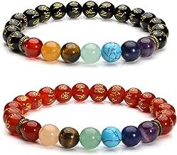 Jovivi 7 Chakras Gemstone Bracelet Healing Crystals Natural Stone Beads Ombre Gradient Beaded Stretch Bracelet