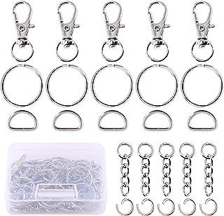 Swpeet 150Pcs Metal Lobster Claw Clasps Hook Kit, Including 30Pcs Key Chain Hooks, 30Pcs D Rings, 30Pcs Key Ring and 30Pcs...