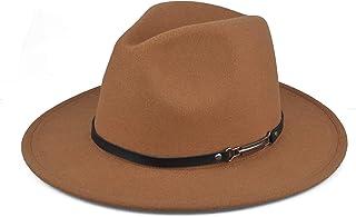 EINSKEY Womens Felt Fedora Hat, Wide Brim Panama Cowboy Hat Floppy Sun Hat for Beach Church - brown - One Size
