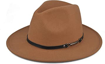EINSKEY Womens Felt Fedora Hat, Wide Brim Panama Cowboy Hat Floppy Sun Hat for Beach Church