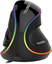 J-Tech Digital Vertical Ergonomic Mouse Wired with Chroma RGB color LED, 5 Adjustable DPI settings for Gaming (800/1200/1600/2400/4000), Scroll Endurance, Removable Palm Rest and Thumb Buttons [V628R]