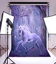 LFEEY 8x10ft Vinyl Unicorn Photography Background Quiet Dreamy Fairytale Forest Trees Hazy Trees Flowers Dragonfly Violet Fantasy Children Birthday Party Holiday Photo Studio Prop