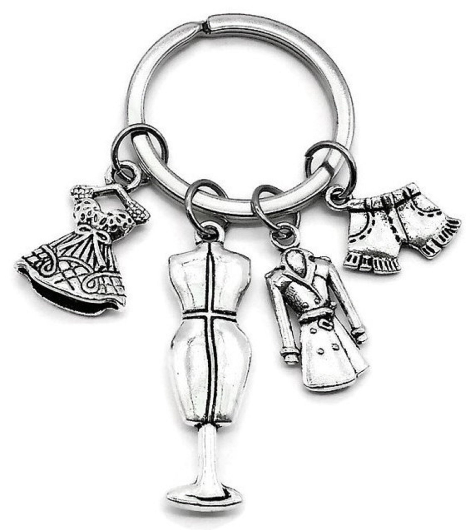 时尚钥匙扣、连衣裙钥匙扣、外套钥匙扣、衣服钥匙扣、牛仔裤短裤钥匙扣、人体模型钥匙扣、精品配饰、裙装饰、服装魅力、时尚魅力、女性礼物时尚钥匙圈