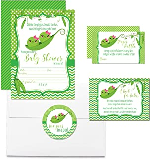 """Deluxe Two Peas in A Pod Twin Girls Baby Shower Party Bundle, Includes 20 Each of 5""""x7"""" Fill in Invitations, Diaper Raffle Tickets, Bring a Book Cards & 2"""" Thank You Favor Stickers w/ Envelopes"""