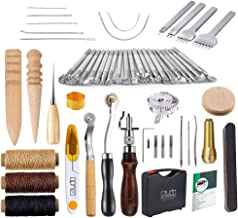 Caydo 59 Pieces Leather Working Tools Kit with Instructions for Hand Sewing Stitching, Stamping Set and Saddle Making