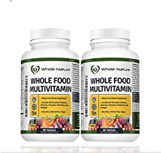 Whole Food Multivitamin for Men and Women (2PACK): Whole Nature Daily Superfood Vitamins Plus Minerals Digestive Enzymes, Probiotics and Omegas. Plant Based Multi Vitamin, Non GMO Gluten Free,Vegan