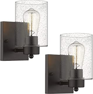 Beionxii Wall Light Fixture | 2 Pack Interior Wall Sconce in Oil Rubbed Bronze with Clear Seeded Glass (8.5