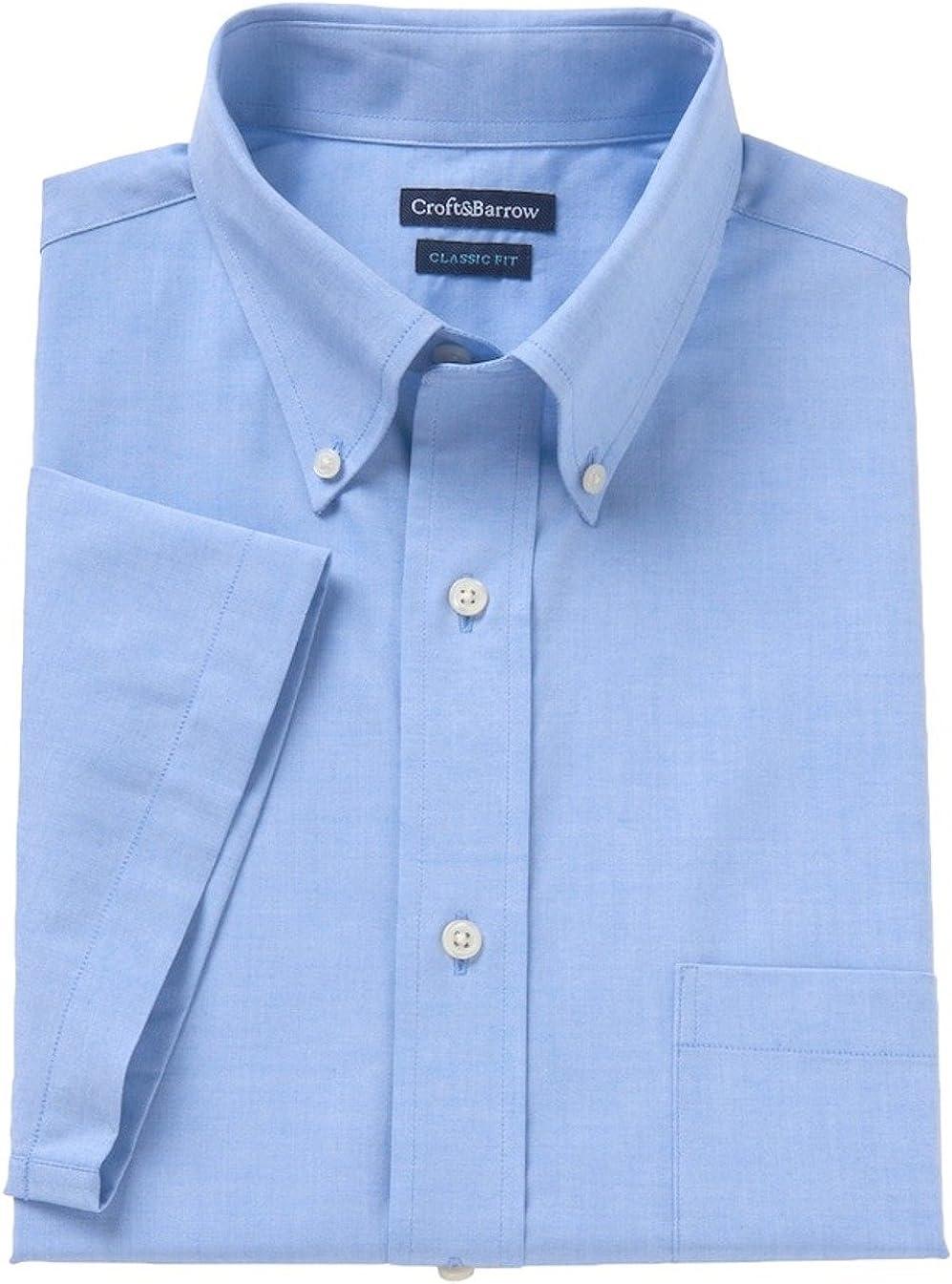 Croft & Barrow Mens Classic Fit Short Sleeve Dress Shirt Palace Blue