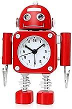 Betus Non-Ticking Robot Alarm Clock Stainless Metal – Wake-up Clock with Flashing..