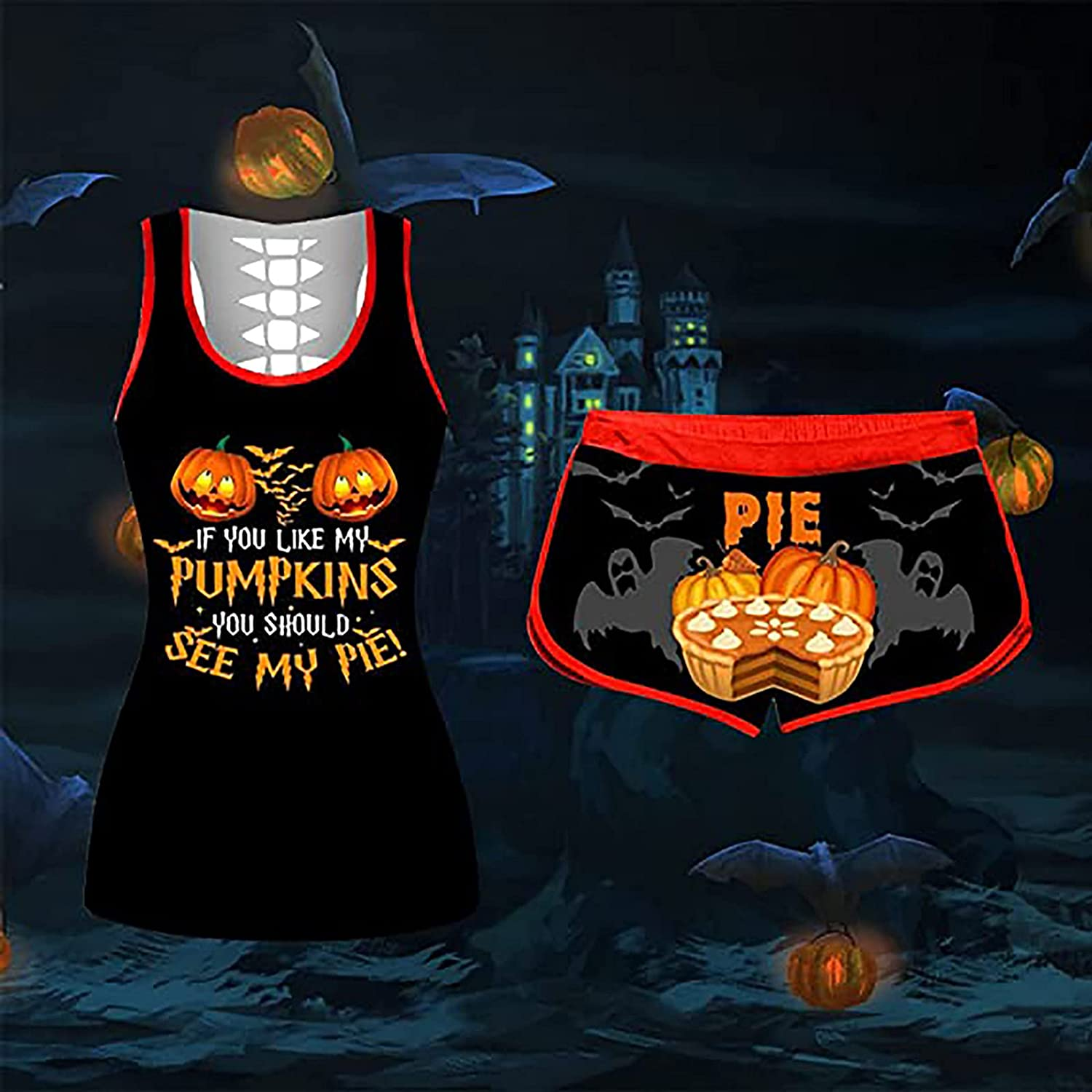 Sport Suit for Women's Tank Tops Shorts Outfits Halloween Pumpkin Printed Vest Elastic Waist Shorts Two-Pieces Set