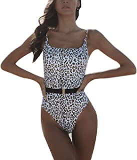 KINGSEVEN Womens Sexy One Piece Swimsuit Leopard Print Bikini Plush Up Swimwear Bathing Suit with Waist Belt
