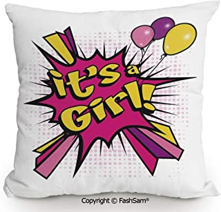FashSam Home Super Soft Throw Pillow Pop Art Style Its A Girl Quote Comic Strip with Balloons for Sofa Couch or Bed(16