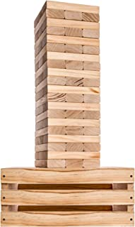 Splinter Woodworking Co Giant Tower Game | 60 Large Blocks | Storage Crate / Outdoor Game Table | Starts Over 2.5ft Big | Max Height of 5ft | Genuine Jumbo Toppling Yard Games | Jumbo Backyard Set