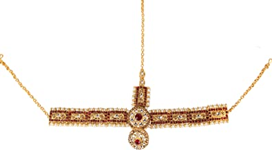 Jewel India Ethnic Traditional Wedding Bridal Gold Party-wear Kundan Pearl CZ Indian Maang Tikka Matha Patti Head Jewelry for Women Red